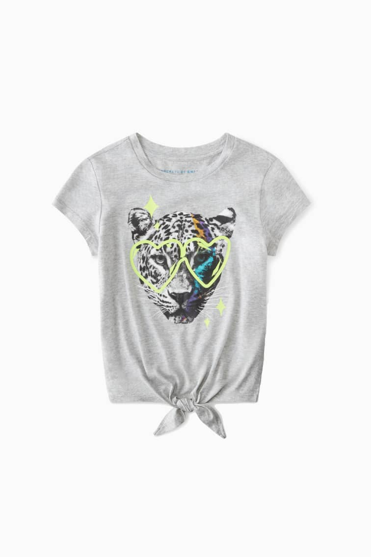 Leopard Glasses Tie-Front Tee front