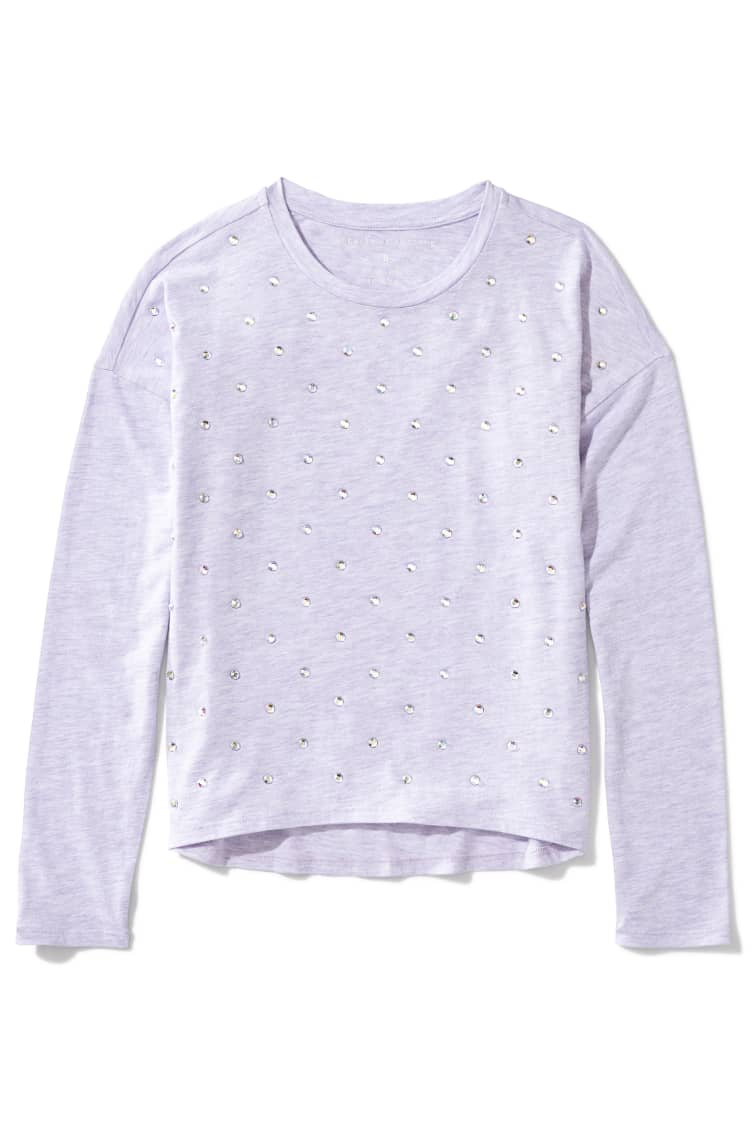 Shimmer Stud Cozy Tee front