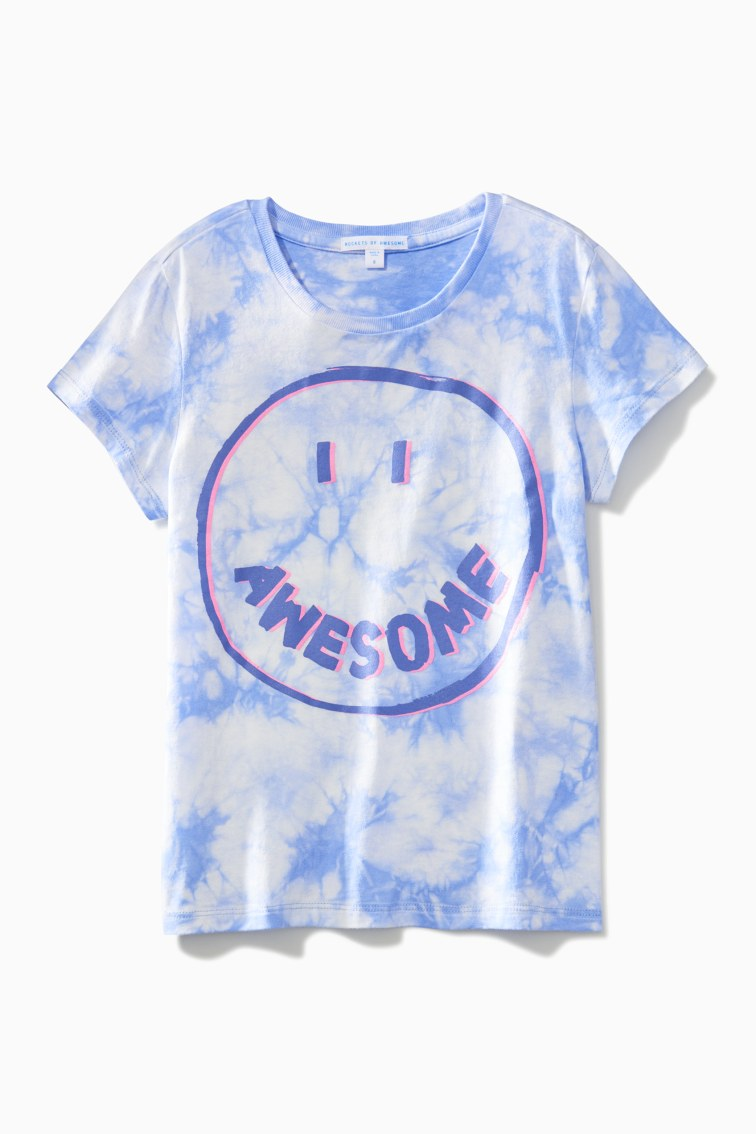 Tie Dye Awesome Smiley Tee front