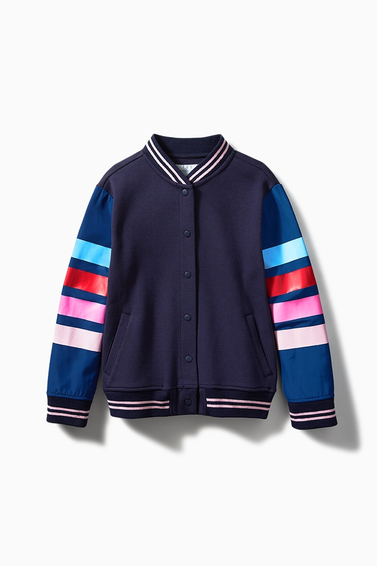 Stripe Sleeve Letterman Jacket front