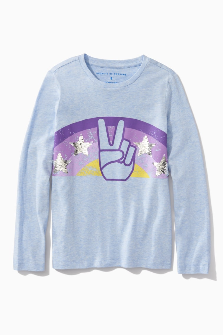 Sequin Star Peace Sign Tee front