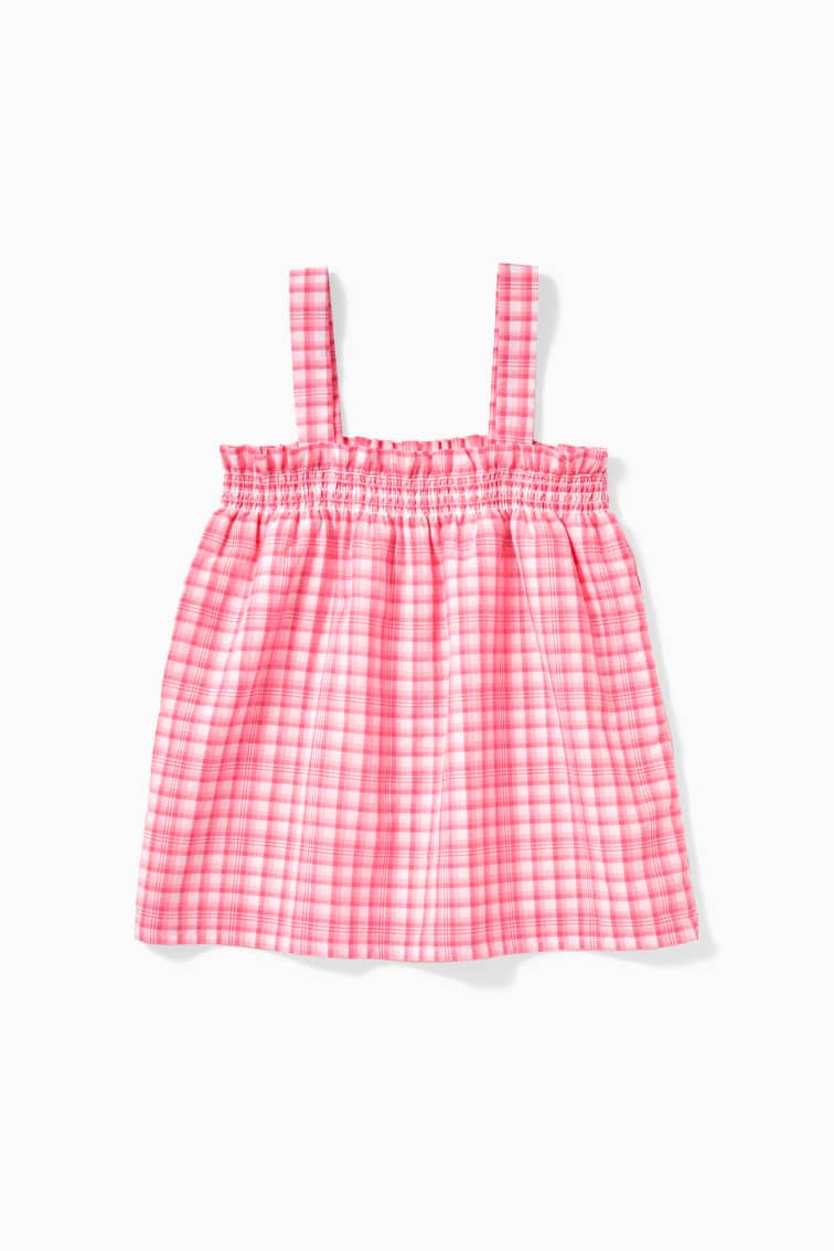 Neon Gingham Smock Top  front
