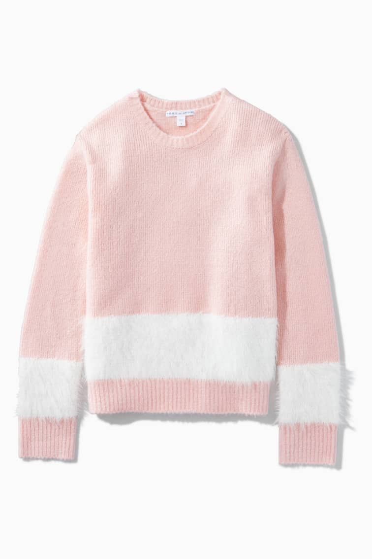 Eyelash Blocked Stripe Sweater front