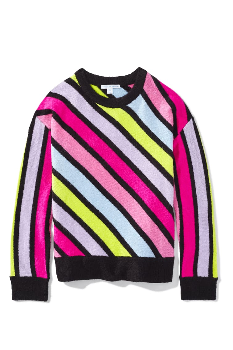 Diagonal Rainbow Stripe Sweater front