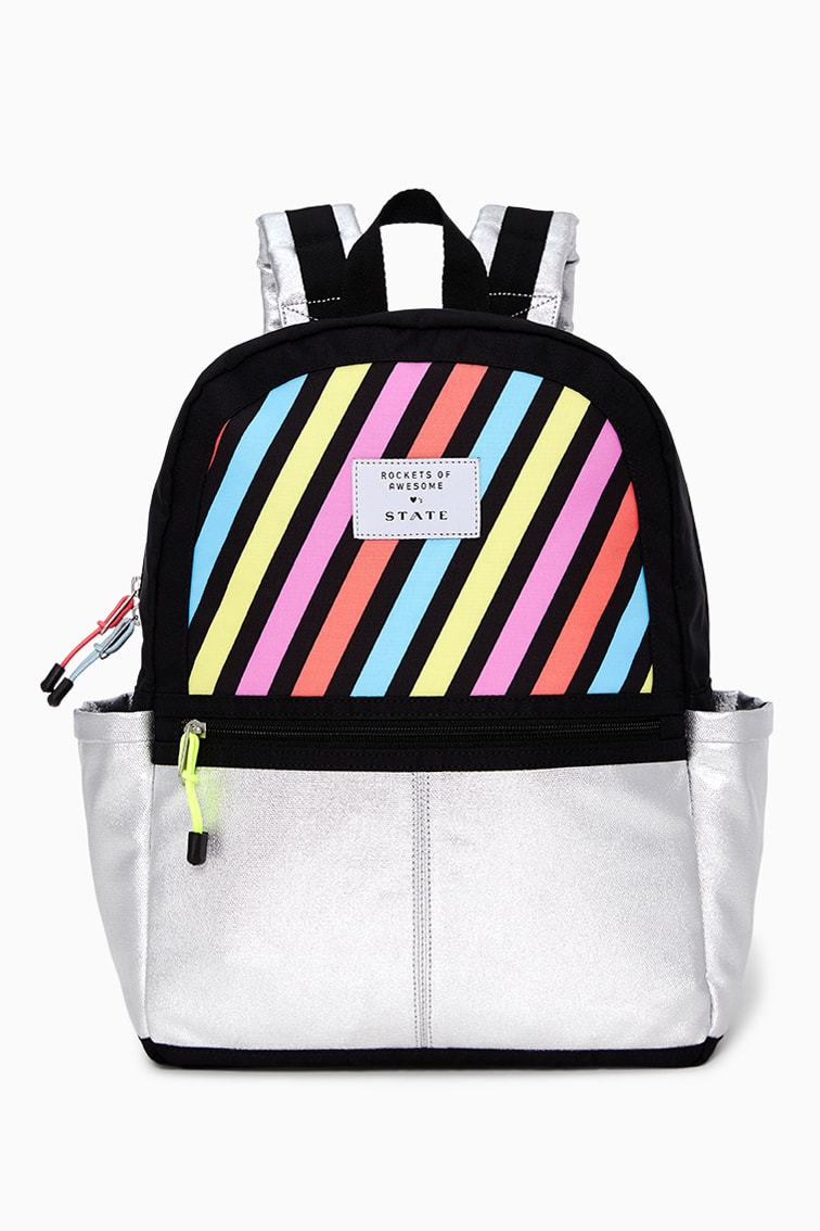 Rockets Of Awesome X State Backpack In Pastel Rainbow front